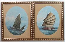 XIX-XX Chinese School Gouache on paper ovals, a