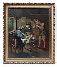 Early 19thC Dutch School Oil on tin Figures