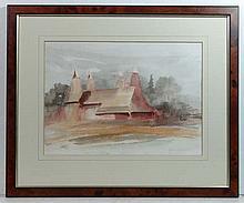 Ken F Bildrew XX Watercolour ' Oast houses in Kent
