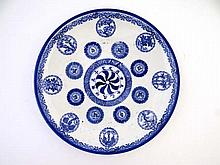 Chinese Horoscope plate : a 19thC blue and white