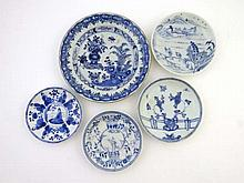 Chinese Ceramics : Four Chinese Saucers and a side
