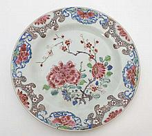 An 18thC/19thC Chinese Famille Rouge plate with