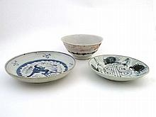 Two Chinese blue and white dishes plus a Tek Sing