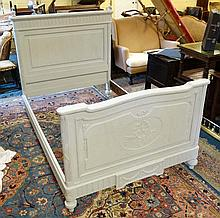 A French painted oak Louis XVI style bed approx 56 1/2'' wide x 58 1/2'' high