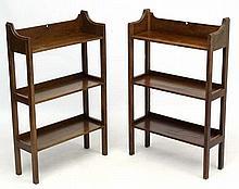 A pair of Arts & Crafts c.1900 oak open bookshelves  21 3/4'' wide x 34 3/4'' high x 7 5/8'' deep