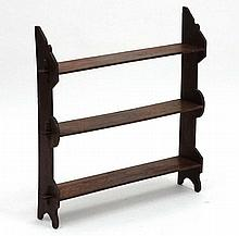 A late Victorian mahogany stained beech set of freestanding / wall hanging open bookshelves.  26 1/2'' wide x wide x 26 1/2'' high