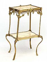 A 1970's onyx and brass 2-tier serpentine shaped etage 17 1/2'' wide x 13 1/2'' deep x 33'' high