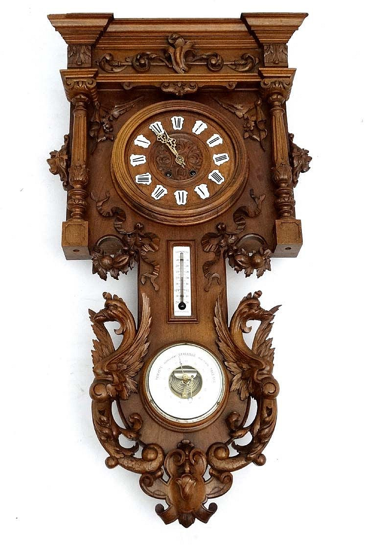 C1900 French Walnut Wall Clock A Large Antique French Wall