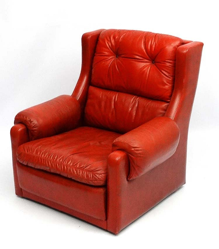 Vintage Retro : a Scandinavian style 1970's red leather Wing
