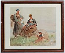 Follower of Hector Caffieri (1847 - 1932)    Watercolour,   Two women with their children re
