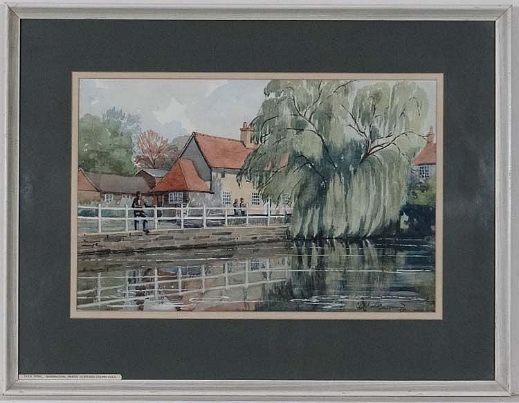 Clifford Culpin  Mid-late XX  Watercolour  ' Duck Pond , Bennington Herts '  Signed and