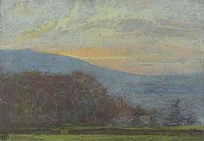 Mary Yates (1891-c1975) Pastel 'Rydale, Hart Head