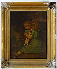 XIX Naive School Oil on panel A Victorian girl