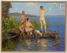Ponomarienko Oleg Gregorievich (b.1948), Russian School. Oil on hardboard, ''The evening light'', S