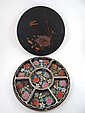 A Japanese circular laquered cased hor'deures tray