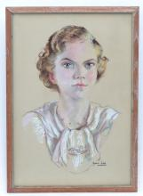 Natalie Field (1898-1977), Pastel, A portrait of a young lady wearing a pearl necklace. Signed lower