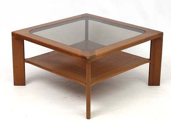 Vintage retro a teak and glass top coffee table with under for Coffee tables under 50