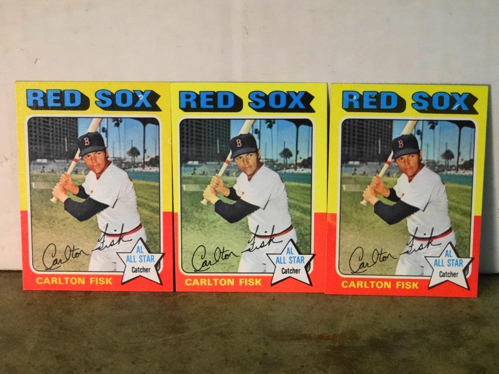 3 1975 TOPPS NO. 80 CARLTON FISK BASEBALL CARDS