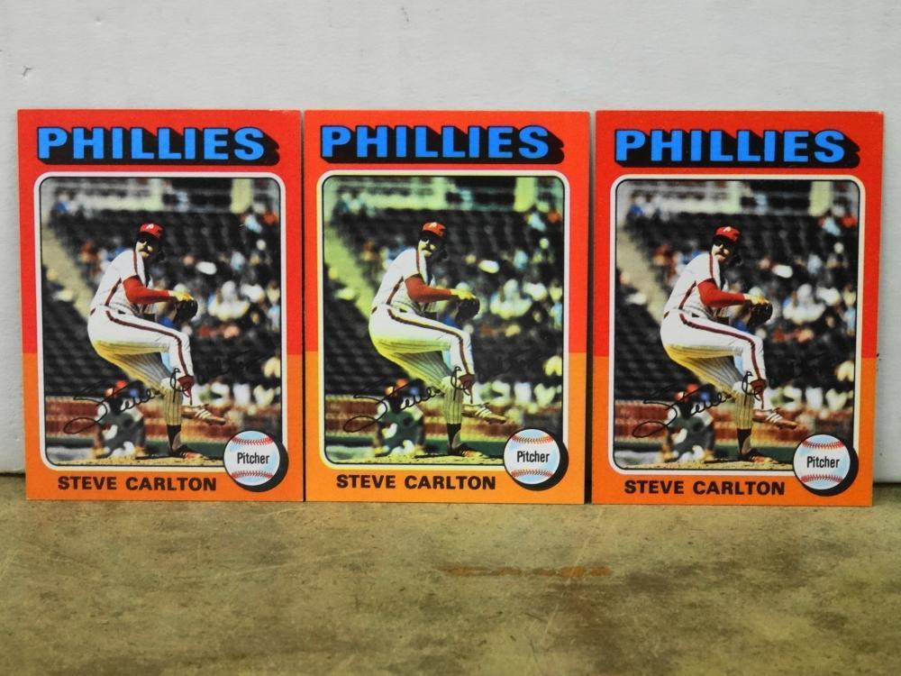 3 1975 TOPPS NO. 185 STEVE CARLTON BASEBALL CARDS