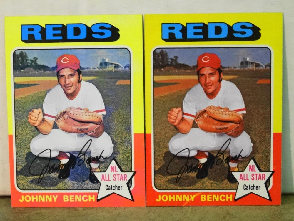 2 1975 TOPPS NO. 260 JOHNNY BENCH BASEBALL CARDS