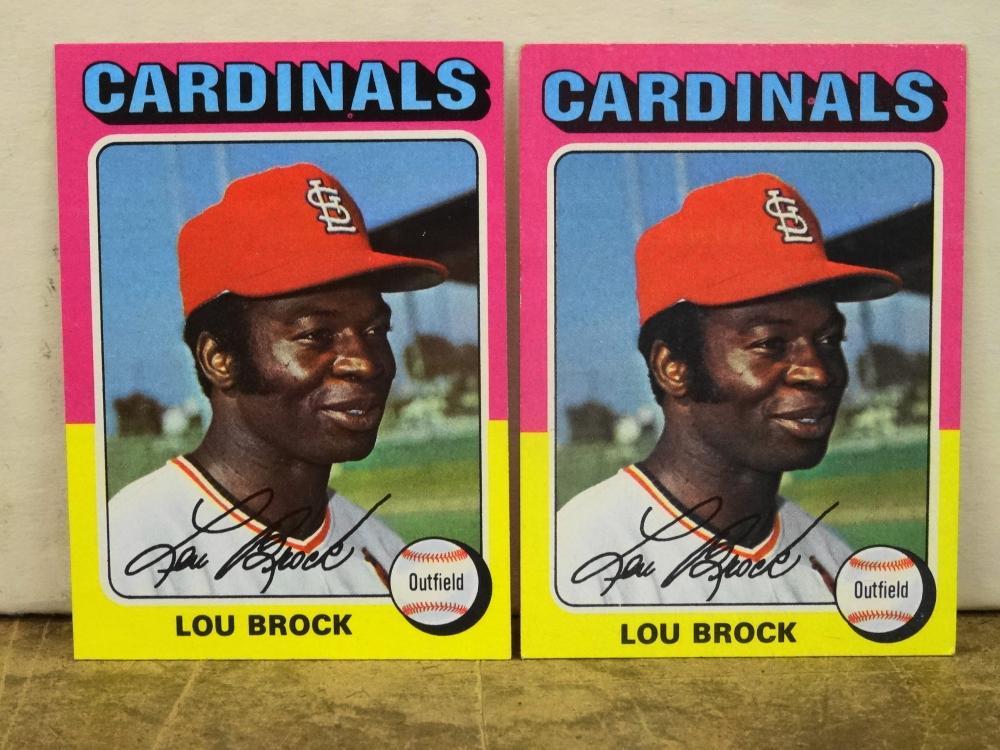 2 1975 TOPPS NO. 540 LOU BROCK BASEBALL CARDS