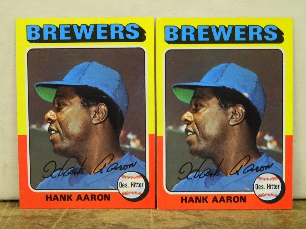2 1975 TOPPS NO. 660 HANK AARON BASEBALL CARDS