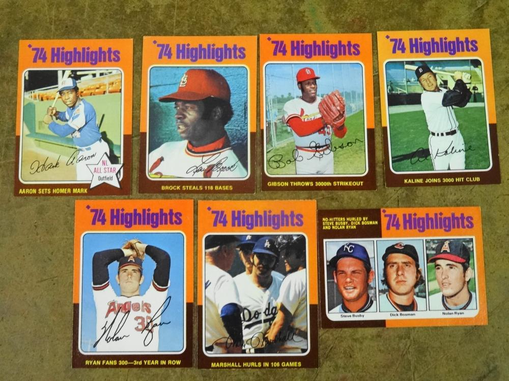 SET OF 1975 TOPPS 74 HIGHLIGHTS BASEBALL CARDS