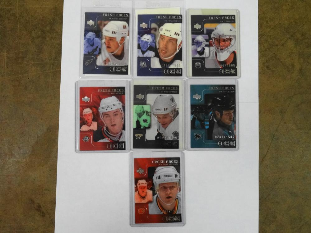 7 2001/2002 UPPER DECK FRESH FACES HOCKEY CARDS