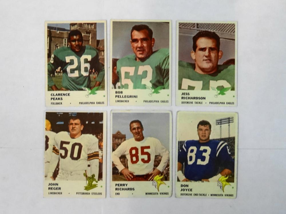 6 1961 FLEER FOOTBALL CARDS