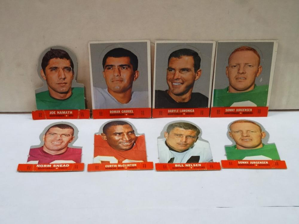 8 VINTAGE STAND UP FOOTBALL CARDS