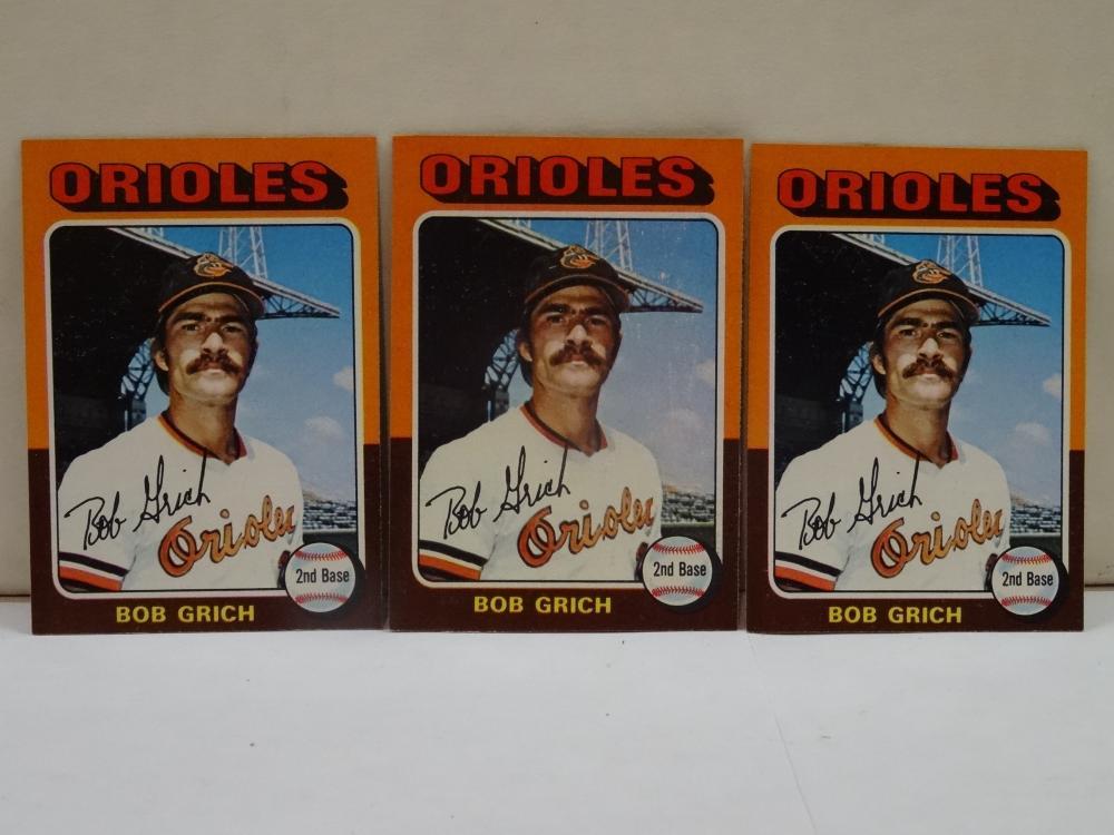 3 1975 TOPPS NO. 225 BOB GRICH BASEBALL CARDS
