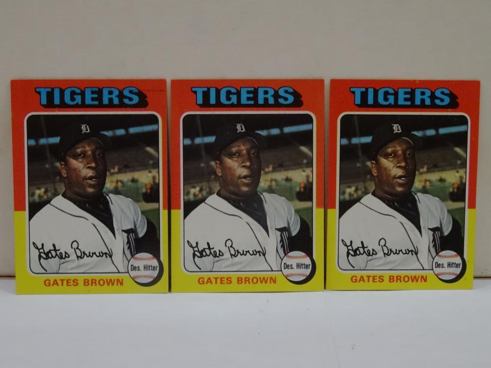 3 1975 TOPPS NO. 371 GATES BROWN BASEBALL CARDS