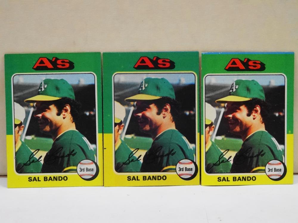 3 1975 TOPPS NO. 380 SAL BANDO BASEBALL CARDS