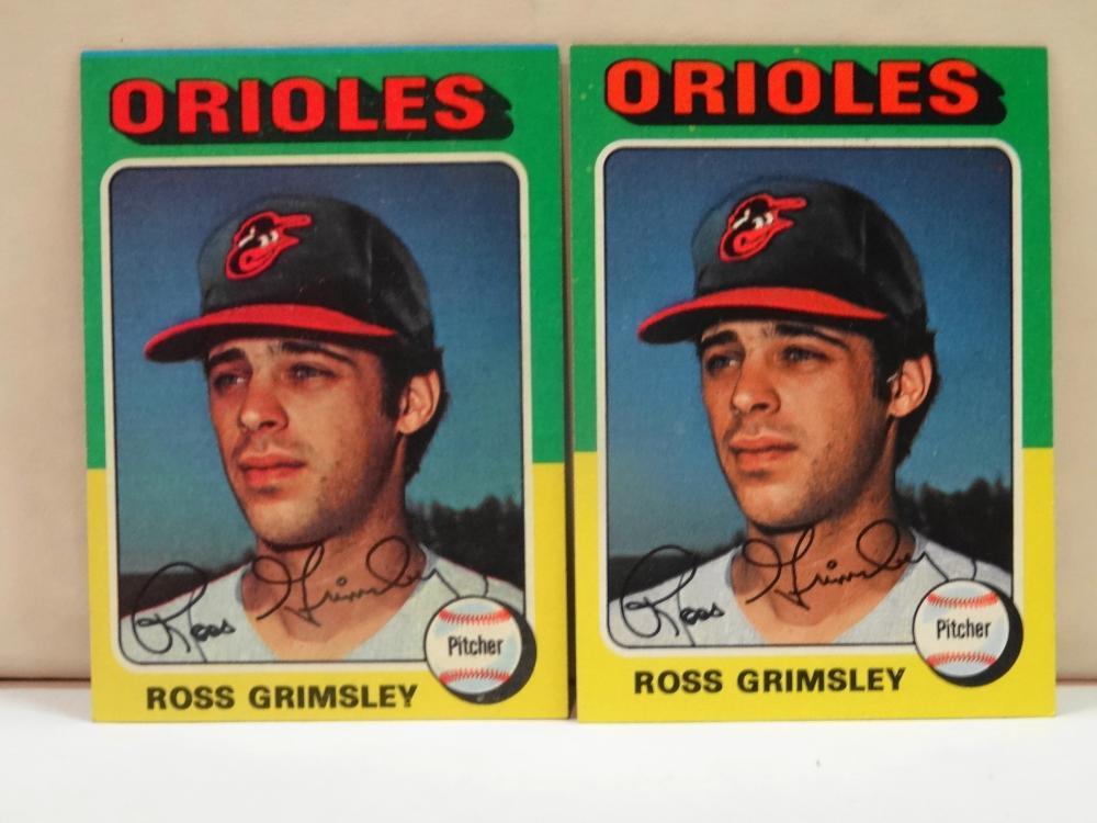2 1975 TOPPS NO. 458 ROSS GRIMSLEY BASEBALL CARD
