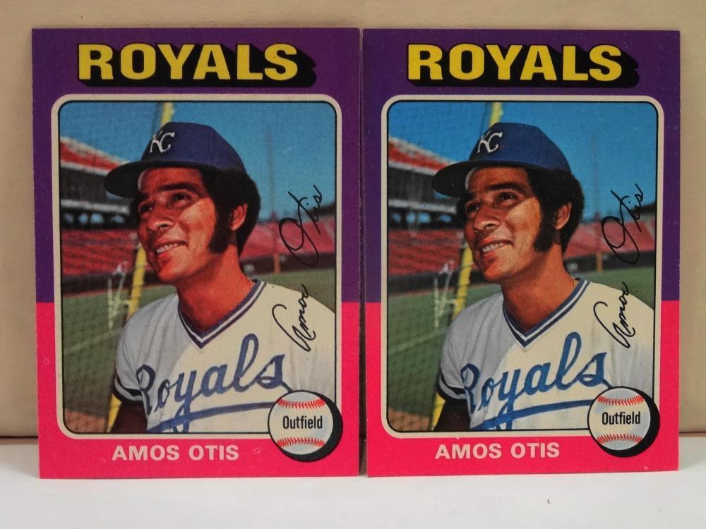 2 1975 TOPPS NO. 520 AMOS OTIS BASEBALL CARDS