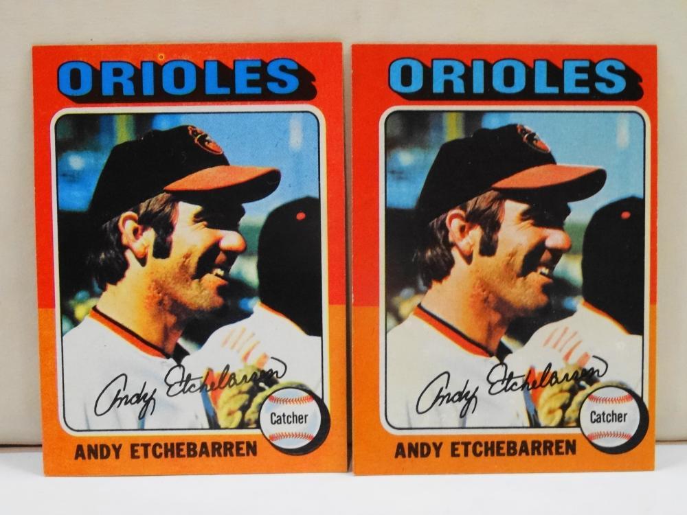 2 1975 TOPPS NO. 583 ANDY ETCHEBARREN BASEBALL CARDS