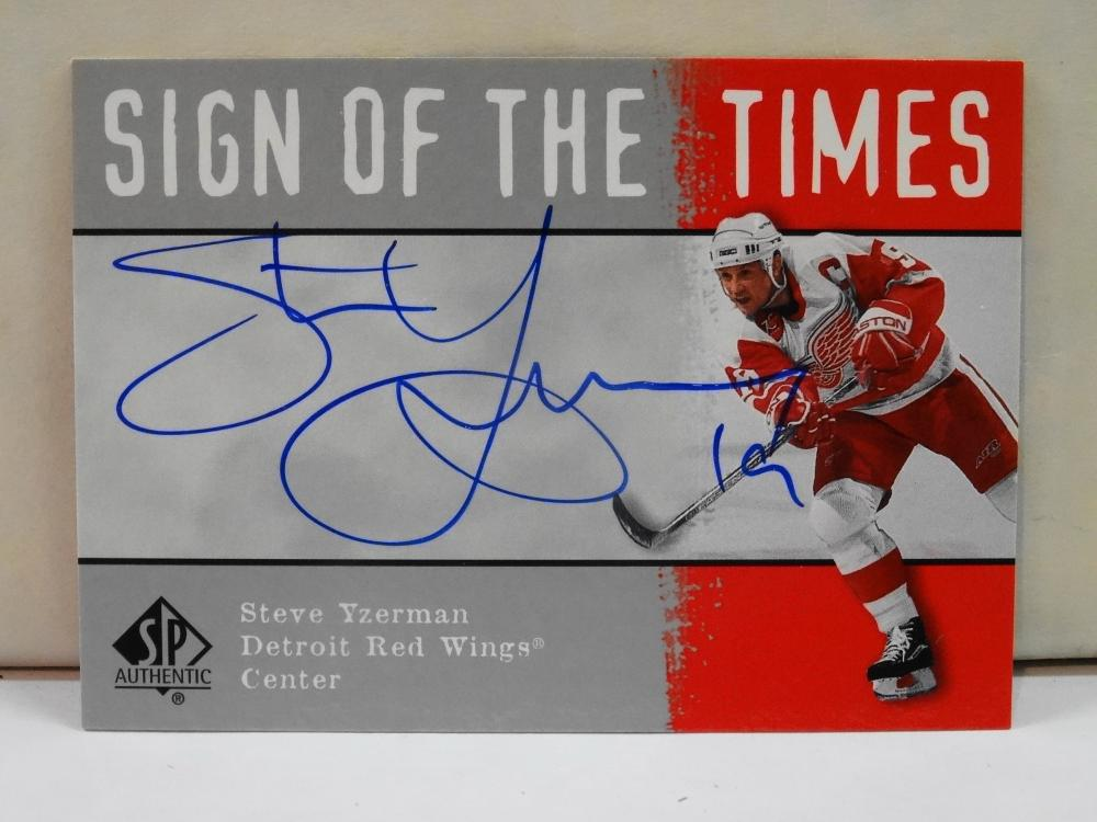 2001 UPPER DECK SIGN OF THE TIMES LIVE INK AUTOGRAPH STEVE YZERMAN HOCKEY CARD