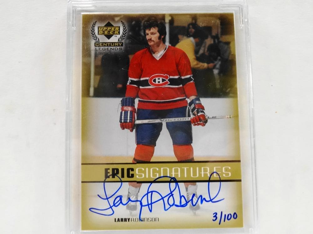 1999 UPPER DECK LIVE INK AUTOGRAPH LARRY ROBINSON 3/100 HOCKEY CARD