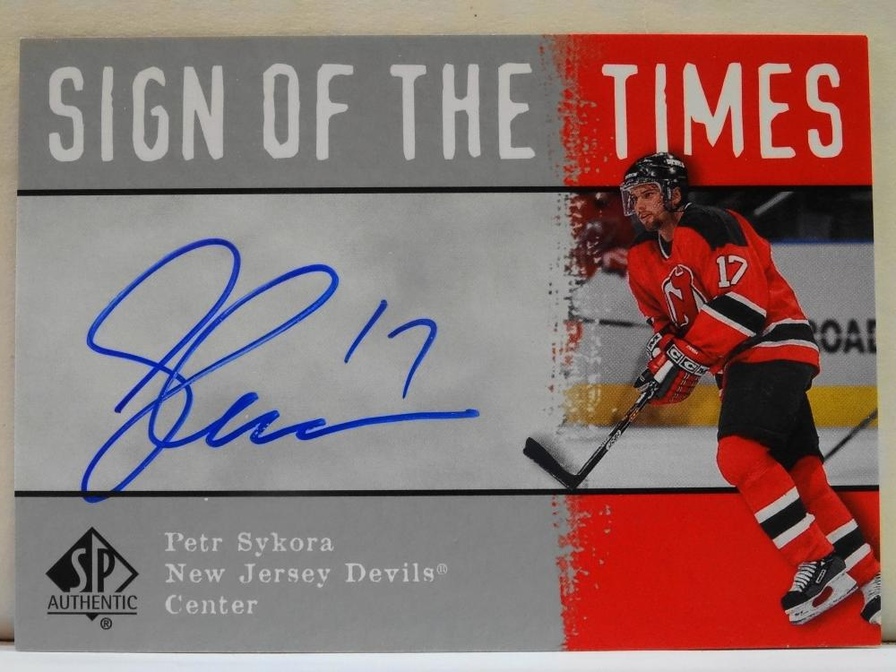 2001 UPPER DECK LIVE INK AUTOGRAPH SIGN OF THE TIMES PETR SYKORA HOCKEY CARD
