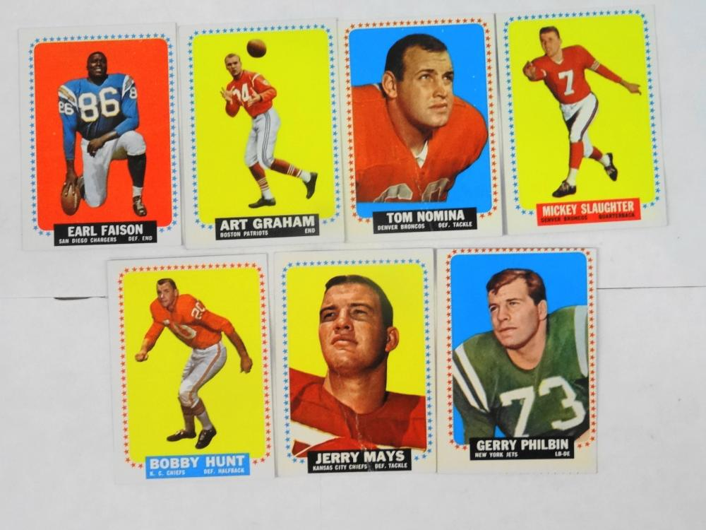 7 1964 TOPPS FOOTBALL CARDS