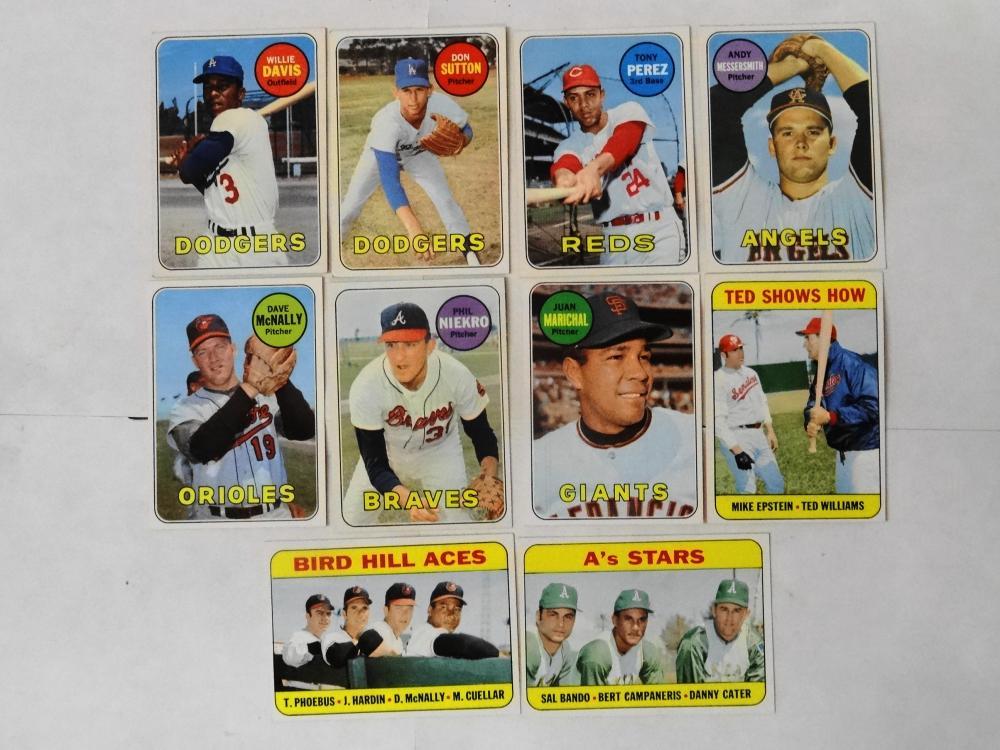 10 1969 TOPPS BASEBALL CARDS