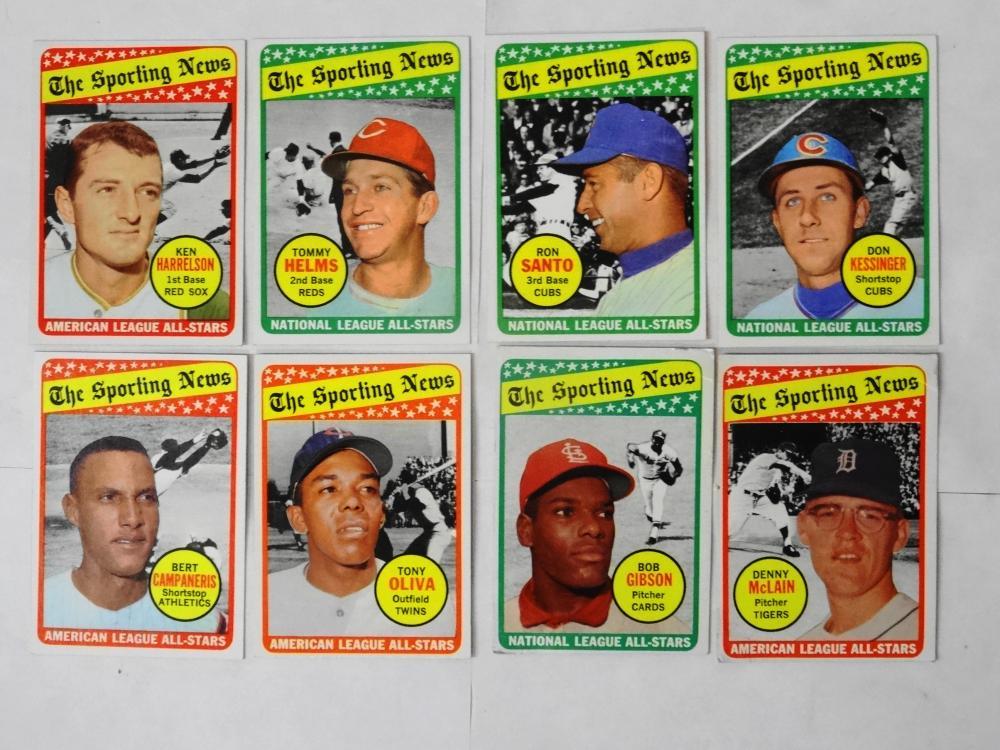 8 1969 TOPPS THE SPORTING NEWS BASEBALL CARDS