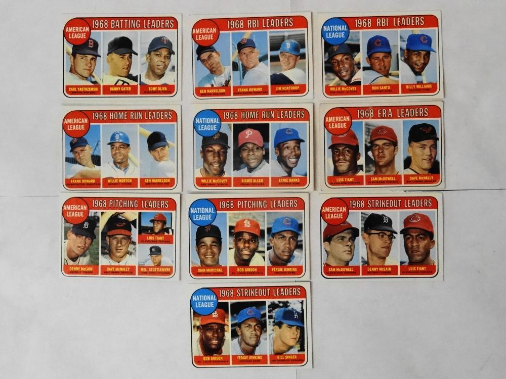10 1969 TOPPS 1968 LEADERS BASEBALL CARDS