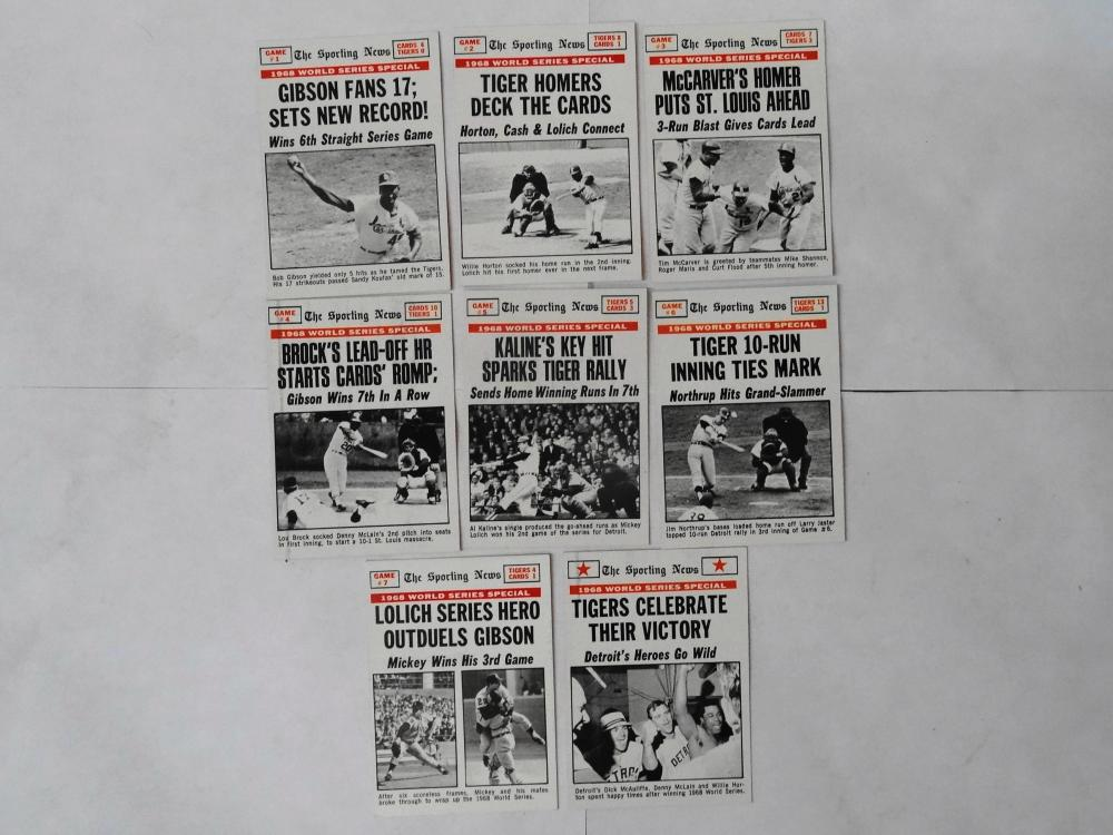 8 1969 TOPPS THE SPORTING NEWS 1968 WORLD SERIES RECORD CARDS