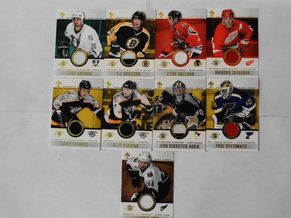 9 2002 PACIFIC TRADING CARD CO. JERSEY WORN HOCKEY CARDS