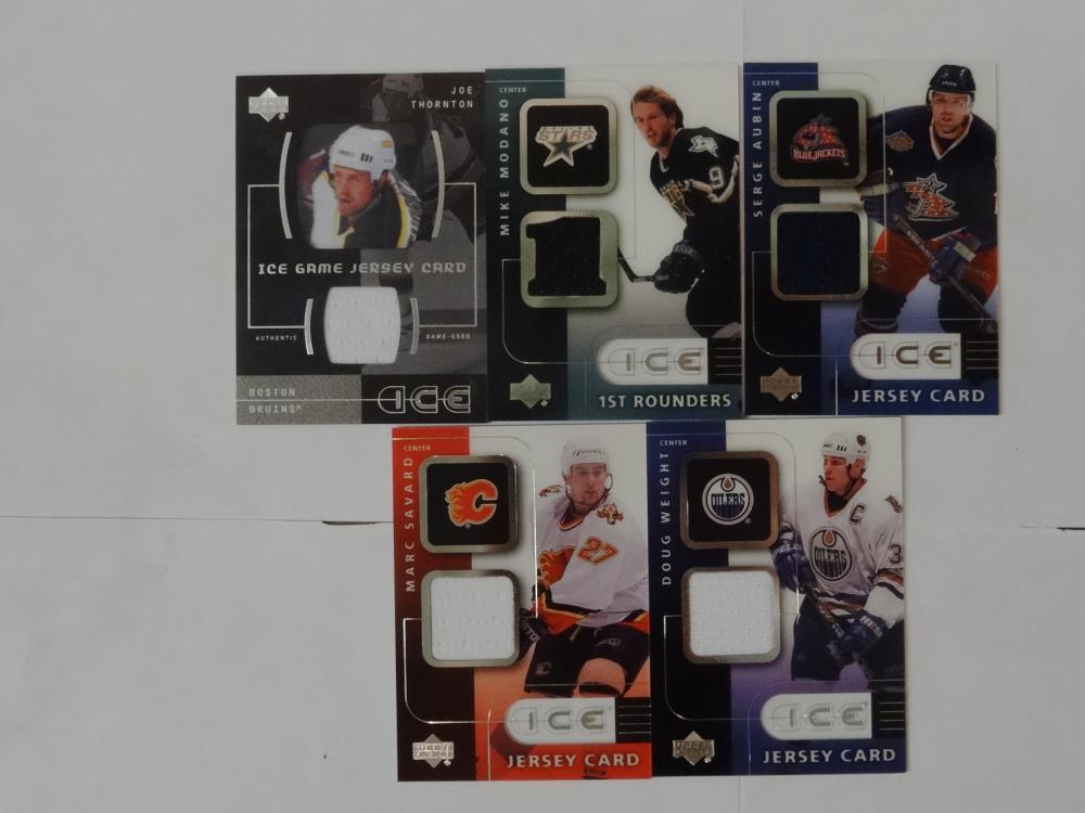 5 2001 UPPER DECK ICE GAME JERSEY CARDS