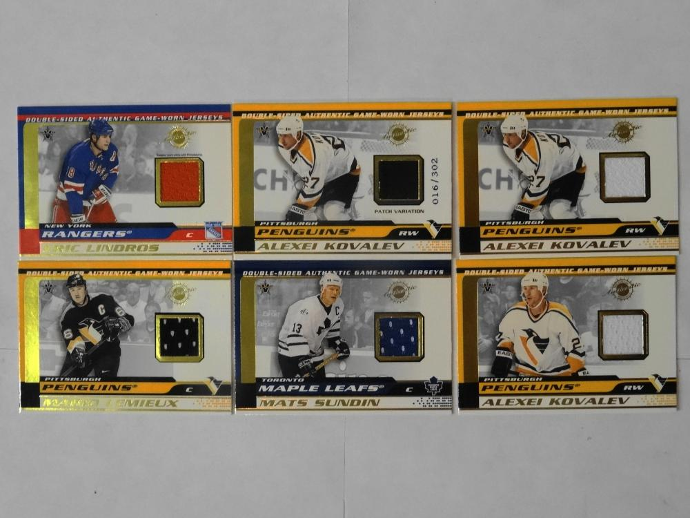 6 2002 VANGUARD DOUBLE SIDED GAME WORN JERSEY CARDS