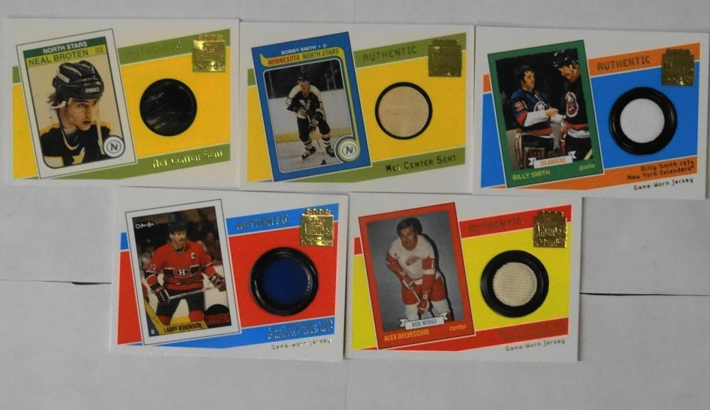 5 2002 TOPPS  O-PEE-CHEE CENTER SEATS AND GAME WORN JERSEY HOCKEY CARDS