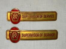 2 VINTAGE PRR SUPERVISOR OF SERVICE BADGES