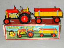 VINTAGE SCHYLLING LITHOED TIN WIND-UP TRACTOR AND TRAILER